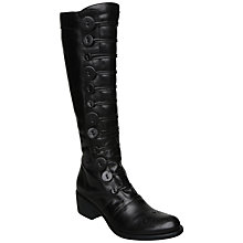 Buy Bertie Pixie Leather Brogue Button Detail Knee Boots, Black Online at johnlewis.com