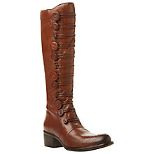 Buy Bertie Pixie Brogue Button Detail Leather Knee High Boots, Tan Online at johnlewis.com
