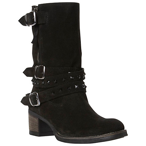 Buy Bertie Rindy Suede Triple Buckle Studded Biker Boots, Black Online at johnlewis.com