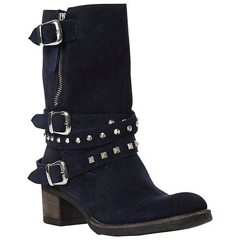 Buy Bertie Rindy Suede Triple Buckle Studded Biker Boots, Blue Online at johnlewis.com