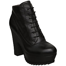 Buy Bertie Prosper Leather Lace-Up Block Platform Ankle Boots Online at johnlewis.com