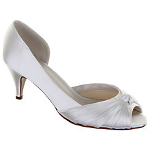 Buy Rainbow Club Cheryl Pleat Detail Satin Peep-Toe Shoes, Ivory Online at johnlewis.com