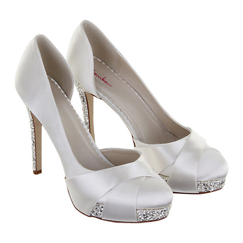Buy Rainbow Club Christy Satin Glitter Platform Court Shoes, Ivory Online at johnlewis.com
