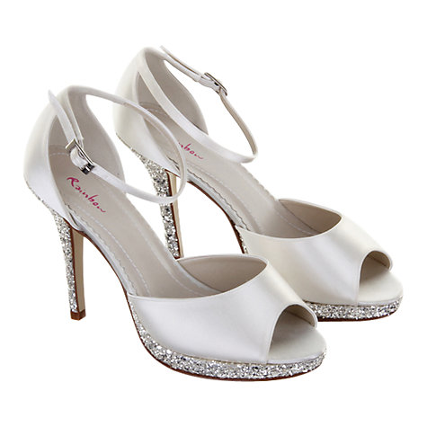 Buy Rainbow Club Helena Satin and Glitter Stiletto Heel Platform Sandals, Ivory Online at johnlewis.com