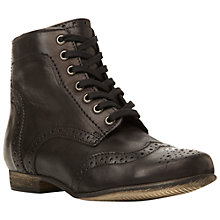 Buy Dune Pretenders Leather Lace Up Brogue Ankle Boots, Black Online at johnlewis.com