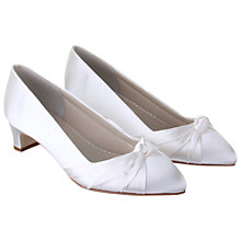 Buy Rainbow Club Linda Pleat Detail Satin Wide Fit Point Toe Court Shoes, Ivory Online at johnlewis.com