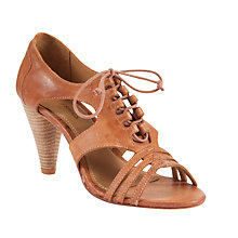 Buy J Shoes Cuba Leather Lace-Up Cone Heel Sandals, Tan Online at johnlewis.com