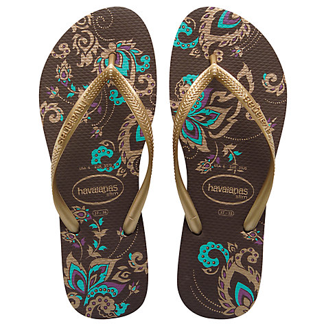 Buy Havaianas Slim Season Sandals, Brown/Gold Online at johnlewis.com