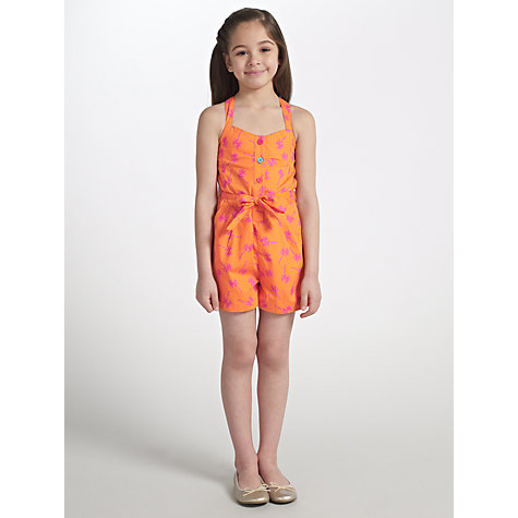 Buy John Lewis Girl Palm Tree Playsuit, Coral Online at johnlewis.com