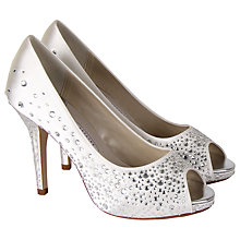 Buy Rainbow Couture Orvietto Diamanté Satin Platform Peep-Toe Court Shoes, Ivory Online at johnlewis.com