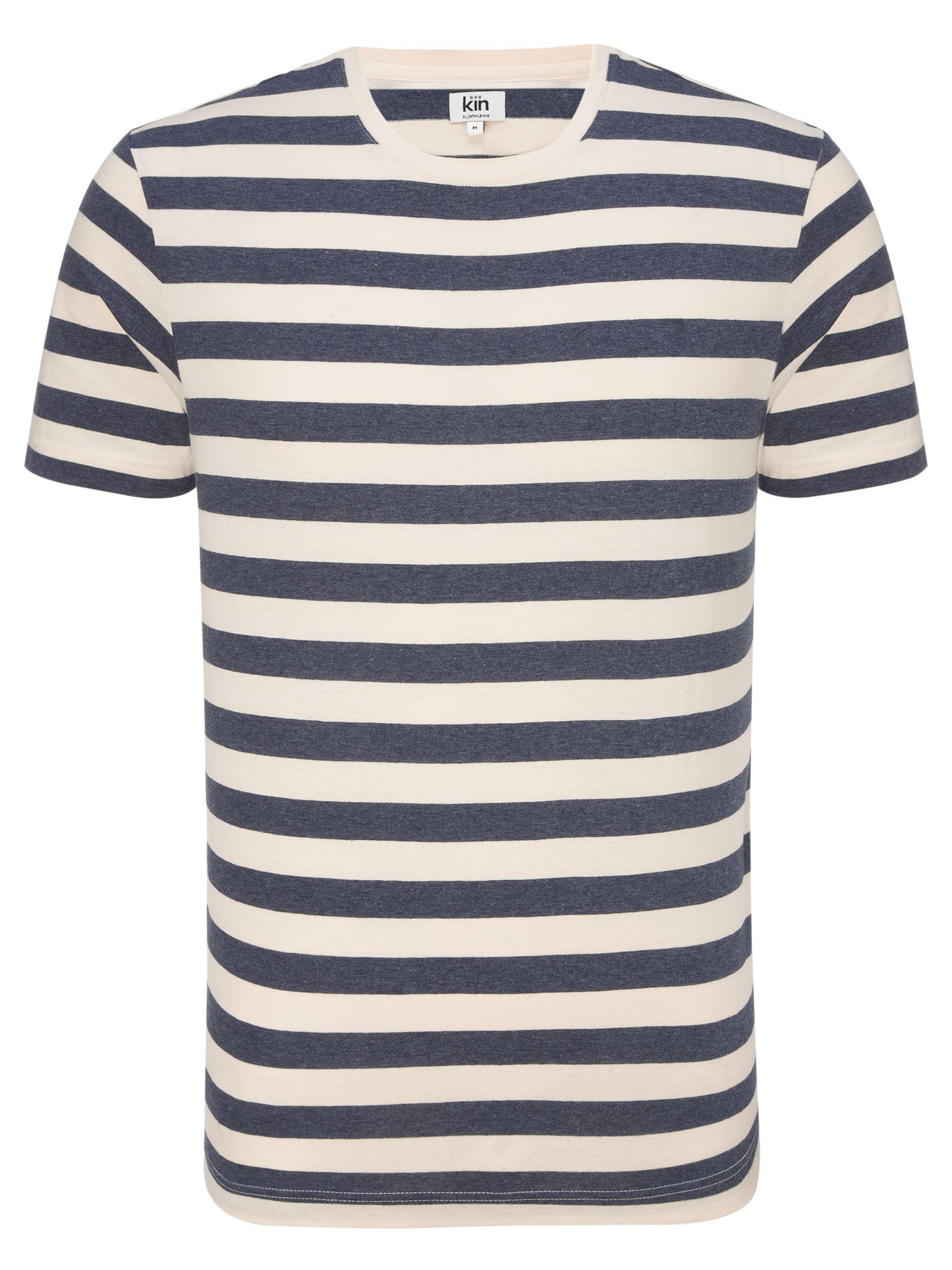 Kin by John Lewis Stripe Crew Neck T-Shirt, Navy/Cream