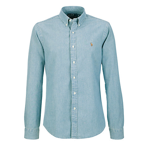 Buy Polo Ralph Lauren Medium Wash Long Sleeve Shirt, Blue Online at johnlewis.com