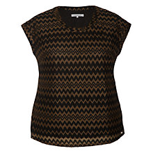 Buy Chesca Zig-Zag Jersey Top, Black/Chestnut Online at johnlewis.com