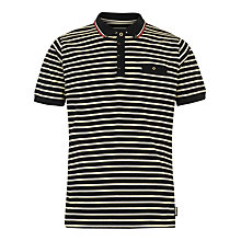 Buy Merc Benedict Stripe Short Sleeve Polo Shirt, Black/Yellow Online at johnlewis.com