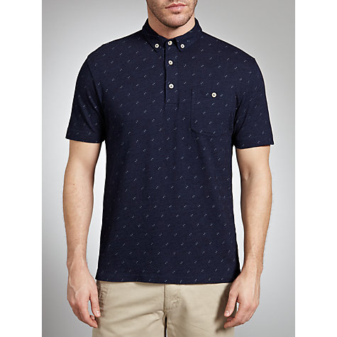 Buy Farah 1920 Printed Polo Shirt, Deep Ocean Online at johnlewis.com