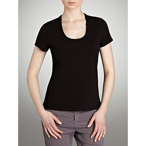 Buy John Lewis Double Layer Scooped Neck Top, Black Online at johnlewis.com