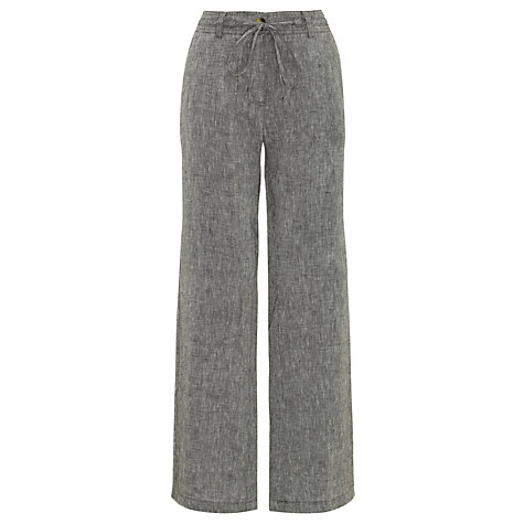 Buy John Lewis Drawstring Over-Dyed Linen Trousers, Grey Online at johnlewis.com