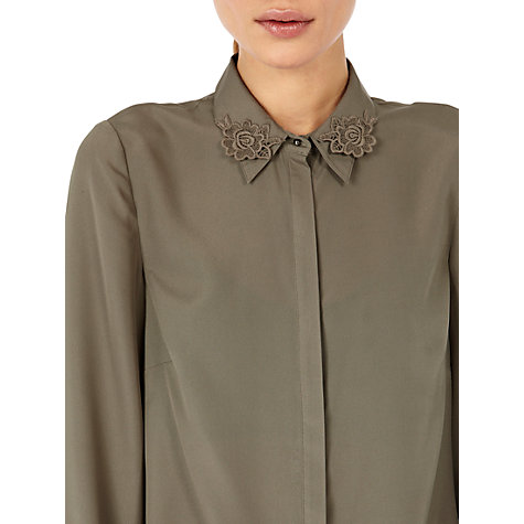 Buy Warehouse Lace Collar Blouse, Khaki Online at johnlewis.com