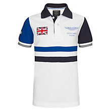 Buy Hackett Boys' Short Sleeved Aston Martin Racing Polo Shirt, White/Blue Online at johnlewis.com