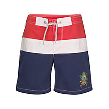 Buy Hackett London Polo Surf Swim Shorts, Red/White/Navy Online at johnlewis.com