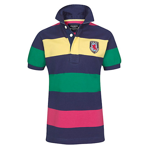 Buy Hackett Boys' Striped Short Sleeved Polo Shirt, Multi Online at johnlewis.com