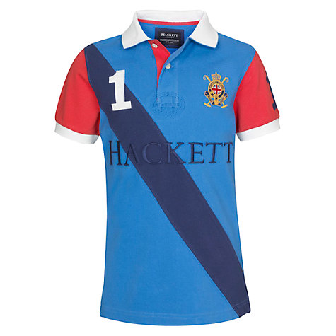 Buy Hackett London Boys' Beach Short Sleeved Polo Shirt, Blue Online at johnlewis.com