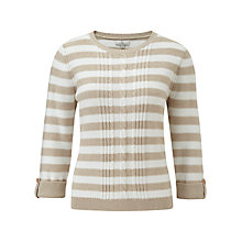 Buy CC Petite Cable Stripe Jumper, Natural/Ivory Online at johnlewis.com
