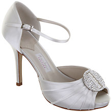 Buy Rainbow Club Sanzio Diamanté Disc Satin Stiletto Heel Peep-Toe Sandals, Ivory Online at johnlewis.com