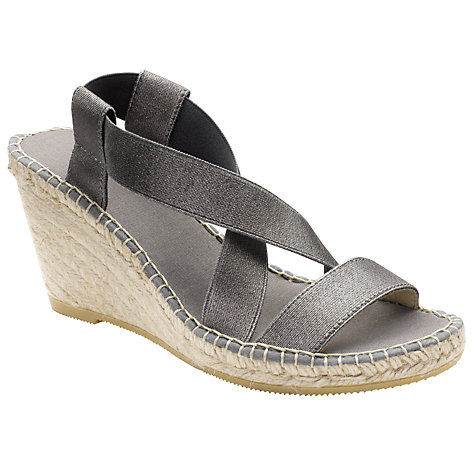 Buy John Lewis Ebony Espadrille Wedge Heel Sandals, Pewter Online at johnlewis.com