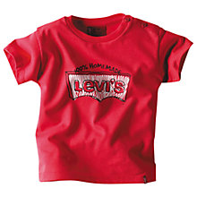 Buy Levi's Marlon Short Sleeved Logo T-Shirt, Red Online at johnlewis.com