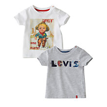 Buy Levi's Scott Short Sleeved T-Shirts, Pack of 2, Multi Online at johnlewis.com