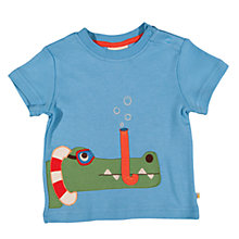 Buy Frugi Baby Snorkel Crocodile Applique Organic Cotton T-Shirt, Blue Online at johnlewis.com