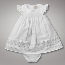 Buy John Lewis Baby Premium Heritage Smock Dobby Dress, White Online at johnlewis.com