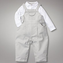 Buy John Lewis Heritage Dungaree Bodysuit Set, Grey Online at johnlewis.com