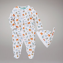 Buy John Lewis Baby Safari Sleepsuit and Hat, Brights Online at johnlewis.com