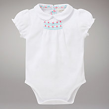 Buy John Lewis Baby Smocked Bodysuit, White Online at johnlewis.com