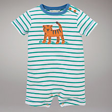 Buy John Lewis Baby Tiger Stripe Romper, Green Online at johnlewis.com