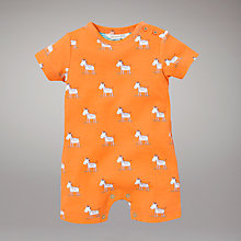 Buy John Lewis Baby Zebra Romper, Orange Online at johnlewis.com