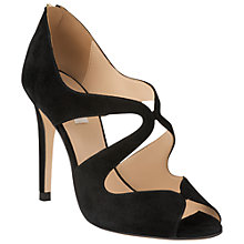 Buy L.K. Bennett Malibu Suede Stiletto Heel Peep-Toe Sandals, Black Online at johnlewis.com