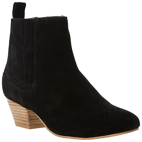 Buy Bertie Prima Suede Block Heel Ankle Boots, Black Online at johnlewis.com