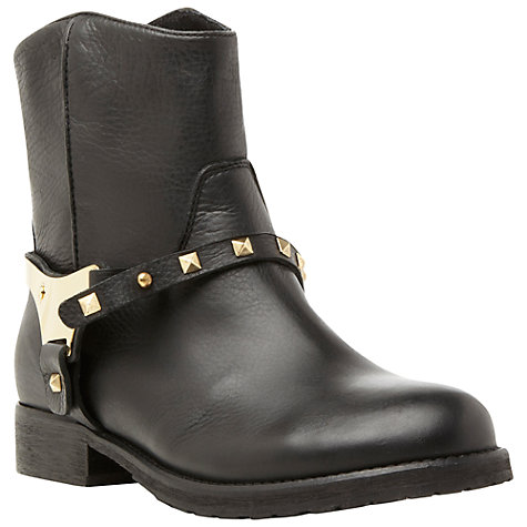 Buy Bertie Regina Metal Harness Leather Biker Ankle Boots, Black Online at johnlewis.com