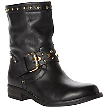 Buy Dune Rocker Stud Detail Leather Biker Boots, Black Online at johnlewis.com
