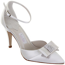 Buy Rainbow Club Avanti Diamanté Bow Satin Ankle Strap Point Toe Shoes, Ivory Online at johnlewis.com