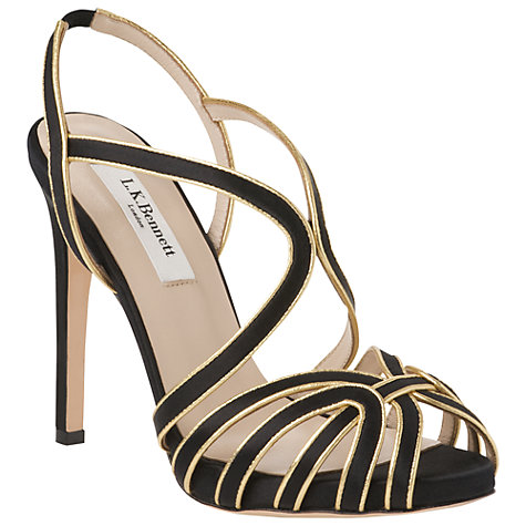 Buy L.K. Bennett Brela Gold Trim Satin Stiletto Heel Sandals Online at johnlewis.com