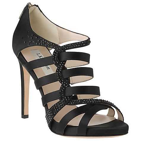 Buy L.K. Bennett Capraia Swarovski Crystal Satin Strappy Sandals, Black Online at johnlewis.com