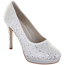 Buy Rainbow Club Desario Diamanté Satin Platform Court Shoes, Ivory Online at johnlewis.com