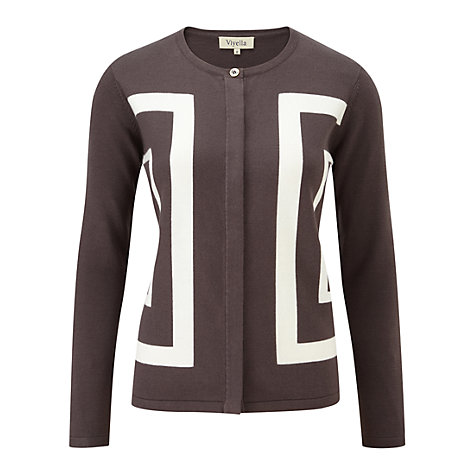 Buy Viyella Intarsia Square Cardigan, Mocha Online at johnlewis.com