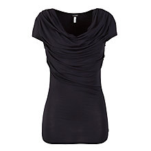 Buy Armani Jeans Short Sleeved Draped Top, Navy Online at johnlewis.com