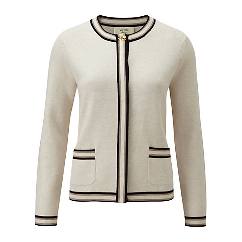 Buy Viyella Petite Trimmed Cardigan, Pumice Online at johnlewis.com