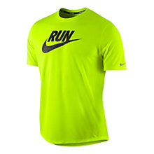 Buy Nike Run Swoosh T-Shirt, Volt Online at johnlewis.com